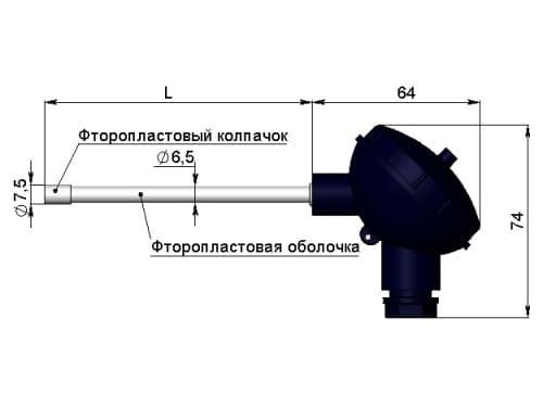 чертеж термометра (термопреобразователя) сопротивления 1199/24 - Энергоприбор