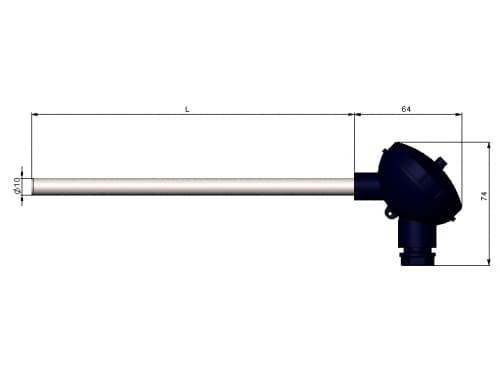 чертеж термометра (термопреобразователя) сопротивления 1199/12 - Энергоприбор