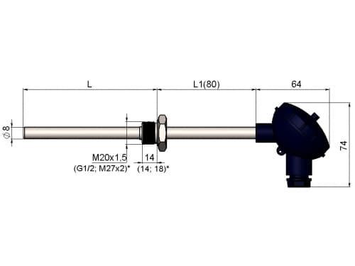 чертеж термометра (термопреобразователя) сопротивления 1199/014 - Энергоприбор
