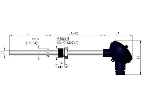 чертеж термометра (термопреобразователя) сопротивления 1199/14 - Энергоприбор