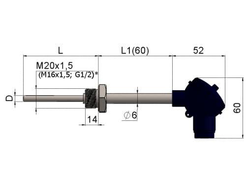 чертеж термометра (термопреобразователя) сопротивления 1199/021 - Энергоприбор