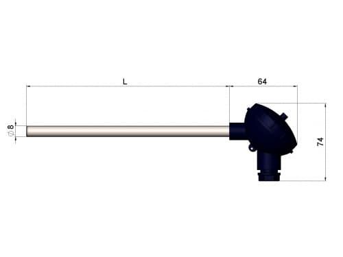 чертеж термопары (преобразователя термоэлектрического) 1199/120 - Энергоприбор