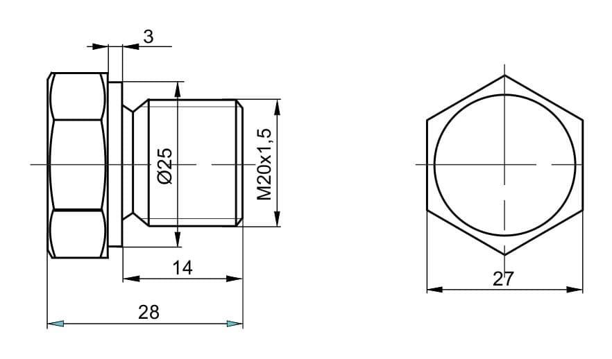 чертеж пробки вида П-01 - Энергоприбор