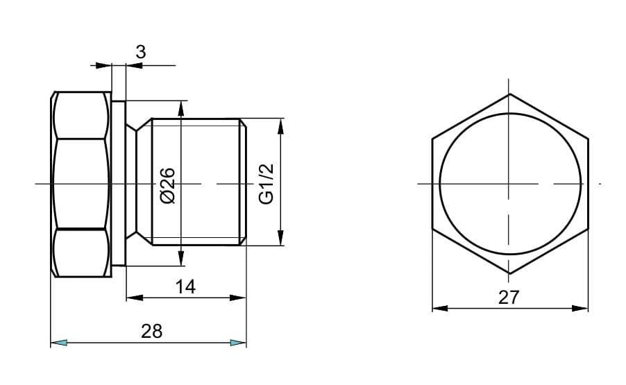 чертеж пробки вида П-02 - Энергоприбор