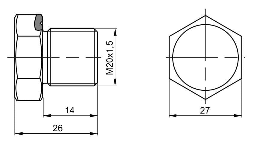 чертеж пробки вида П-11 - Энергоприбор
