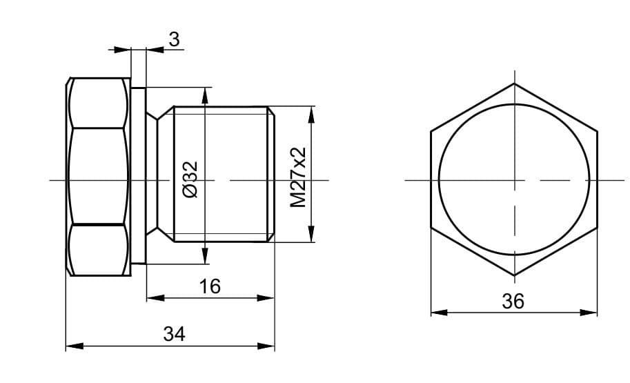 чертеж пробки вида П-03 - Энергоприбор