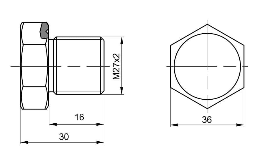 чертеж пробки вида П-33 - Энергоприбор