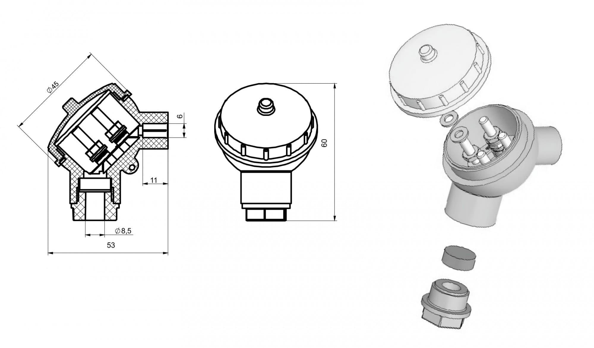чертеж большой головки термопреобразователя Г-02 - Энергоприбор