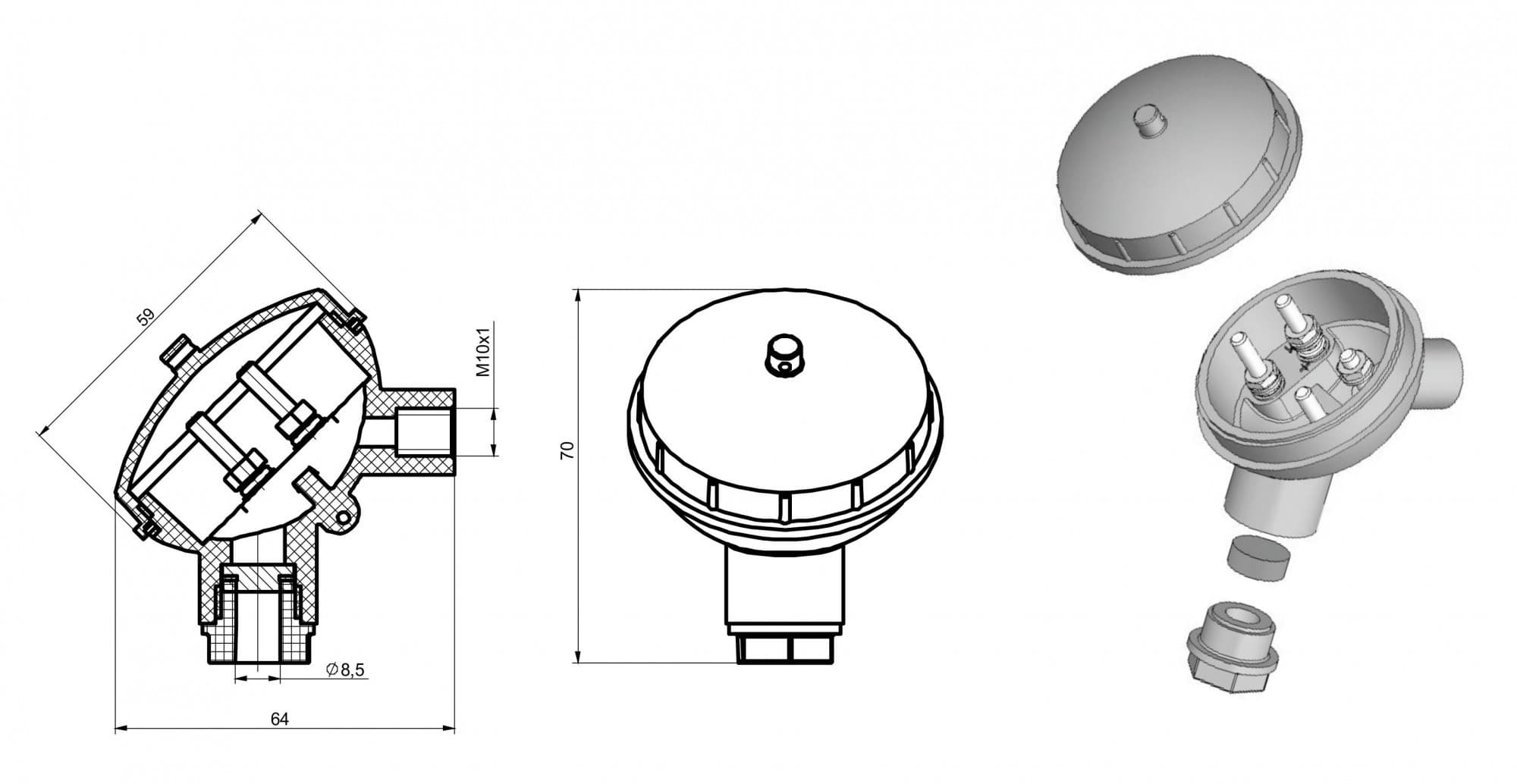 чертеж большой головки термопреобразователя Г-01 - Энергоприбор