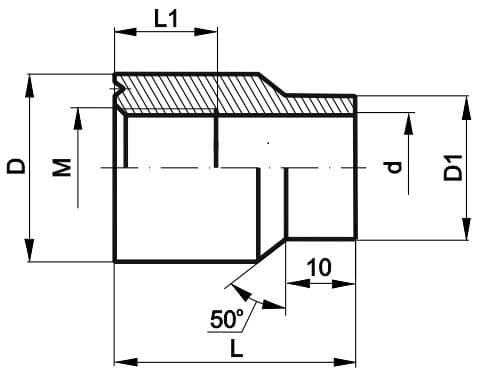 чертеж бобышки прямой - Энергоприбор
