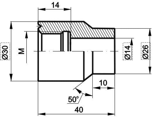 чертеж бобышки прямой для подвижного штуцера - Энергоприбор