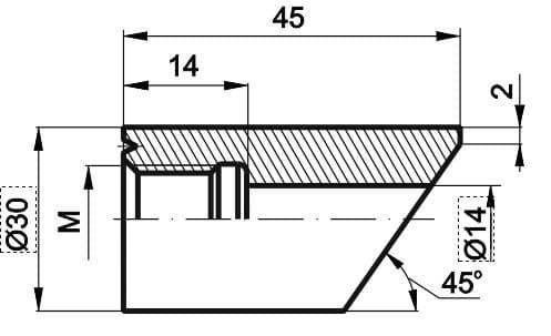 чертеж бобышки со скосом для подвижного штуцера - Энергоприбор