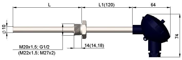 чертеж термопары (преобразователя термоэлектрического) 1199/011 - Энергоприбор